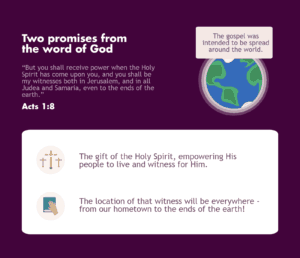 Acts 1:8 talks about the Holy Spirit and the location