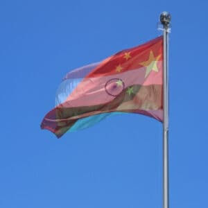 Chinese and Indian Flags overlapping