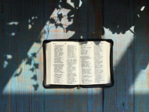 Chinese Bible upon a wooden table