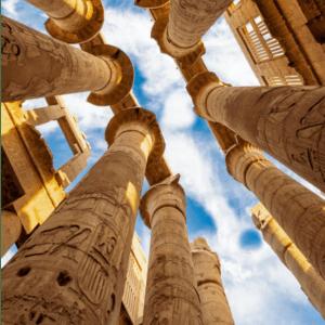 Looking upwards at Ancient Egyptian Pillars