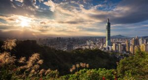 view of Taipei from a hill