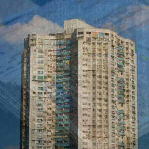 chinese tower block with background images of number stocks and cash