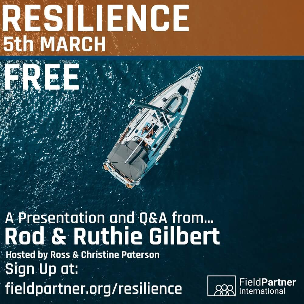 flyer with a photo of a sailing boat on the water from above. Click to sign up for the event
