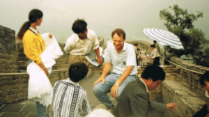 Ross Paterson with a group of people on the great wall of China